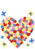 Kaart met een hart van bloemen wordt gevormd die Royalty-vrije Stock Foto's