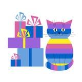 Kaart met een kat en giften Stock Foto