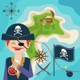 Kaart met een piraat en schateiland Kindspel Help de vondstschatten vector illustratie