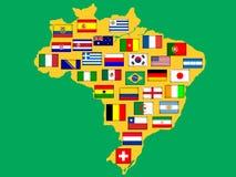 Kaart met gekwalificeerde naties voor 2014 toernooien. Stock Illustratie