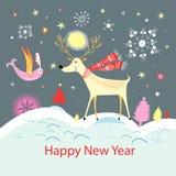 Kaart met gelukkige herten en een vogel royalty-vrije illustratie