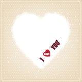 Kaart met gelukwens het van letters voorzien van I-liefde u Stock Afbeelding