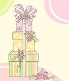 Kaart met giften Royalty-vrije Stock Foto