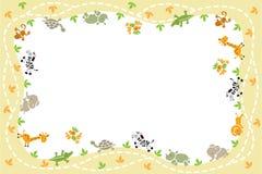 Kaart met grappige dieren Stock Afbeelding