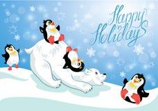 Kaart met grappige pinguïnen en ijsbeer Stock Afbeelding
