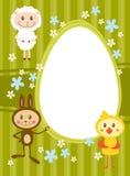 Kaart met grappige schapen, konijn en chicke Stock Afbeelding