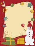 Kaart met grappige sneeuwman Stock Afbeeldingen