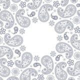 Kaart met grijs Paisley Royalty-vrije Stock Afbeeldingen