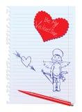 Kaart met Hand-Drawn Schetsmatige Engel stock illustratie
