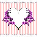 Kaart met hart en bloemen in het centrum Stock Foto