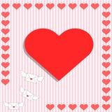 Kaart met hart en vliegende envelop Stock Foto