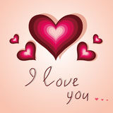 Kaart met hart I liefde u op lichtrose achtergrond Stock Foto