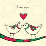 Kaart met het kussen vogels in liefde Royalty-vrije Stock Afbeeldingen