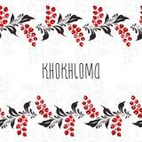 Kaart met kader in stijl Khokhloma Royalty-vrije Stock Afbeeldingen