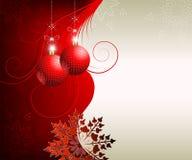 Kaart met Kerstmis rode ballen Stock Fotografie