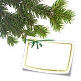 Kaart met Kerstmisboom en wit frame Stock Afbeelding