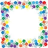 Kaart met kleurrijke handprints op de witte achtergrond Royalty-vrije Stock Afbeelding