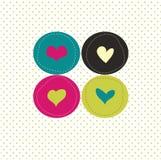 Kaart met kleurrijke harten Stock Fotografie