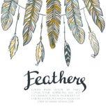 Kaart met kleurrijke veren Mooie hand-drawn achtergrond voor uitnodigingen vector illustratie