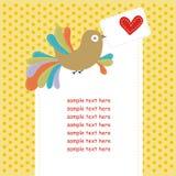 Kaart met kleurrijke vogel in liefde Royalty-vrije Stock Fotografie