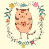 Kaart met leuke kat in decoratieve bloemenelementen Royalty-vrije Stock Fotografie