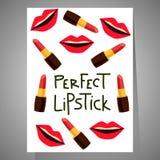 Kaart met lippen en lippenstiften Royalty-vrije Stock Fotografie