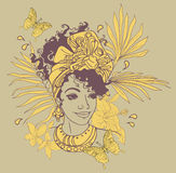 Kaart met mooie Afrikaanse Amerikaanse vrouw Royalty-vrije Stock Foto's