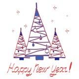 Kaart met multi-colored decoratieve Kerstbomen stock illustratie