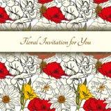 Kaart met Naadloos Bloemenpatroon met Rode Bloemen op Zwart-wit Achtergrond Royalty-vrije Stock Fotografie