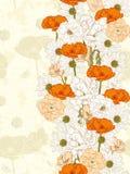 Kaart met Naadloze Bloemengrens met kalm-gekleurde papavers, Stock Fotografie
