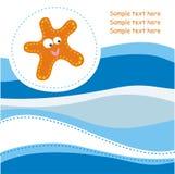 Kaart met oranje zeester Stock Foto