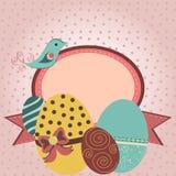 Kaart met paaseieren en vogel in retro stijl Stock Fotografie