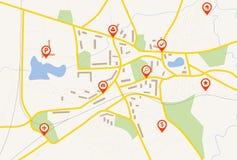 Kaart met rode speldwijzers Stock Afbeeldingen