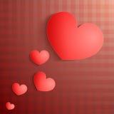 Kaart met rood hart en patroon. Royalty-vrije Stock Foto's