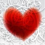 Kaart met rood hart en patroon. Royalty-vrije Stock Foto