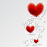 Kaart met rood hart en patroon. Royalty-vrije Stock Fotografie