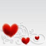 Kaart met rood hart en patroon. Royalty-vrije Stock Afbeelding