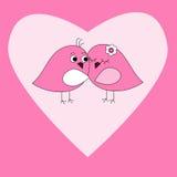 Kaart met roze hart en vogels Stock Foto