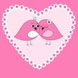 Kaart met roze hart en vogels Stock Foto's