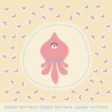 Kaart met roze octopus Royalty-vrije Stock Fotografie