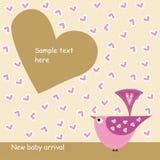 Kaart met roze vogel in liefde Royalty-vrije Stock Afbeelding