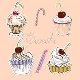 Kaart met snoepjes Stock Foto