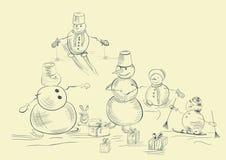 Kaart met snowmans royalty-vrije illustratie
