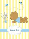 Kaart met speelteddybeer en mou Stock Fotografie