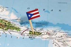 Kaart met speldpunt van Puerto Rico stock foto