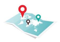 Kaart met speldwijzer Stock Foto