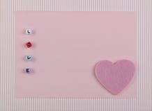 Kaart met Symbool van Liefde Stock Fotografie