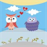 Kaart met uilen in liefde Royalty-vrije Stock Afbeeldingen