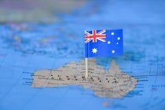Kaart met vlag van Australi? stock afbeelding