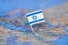 Kaart met vlag van Isra?l royalty-vrije stock foto